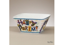 Purim Melamine Square Bowl, 6""