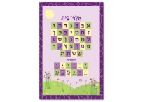 Aleph Bet Chart; Purple Flowers