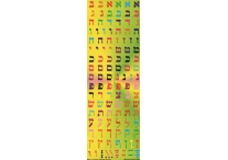 Aleph Bet, Multicolored, Square Stickers