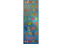Multi-Patterned Aleph Bet Stickers; Blue Background