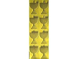 Chanukah Menorah Die-Cut Stickers, Gold